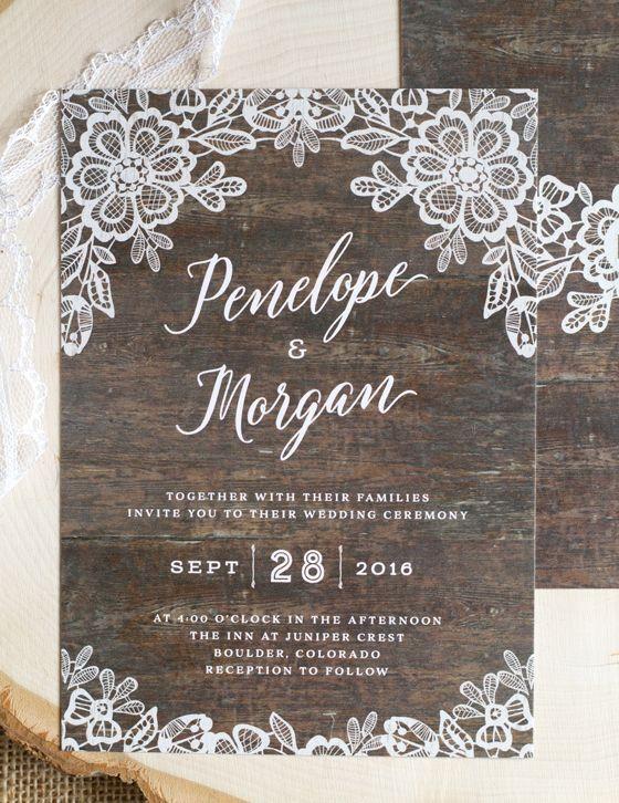 Rustic Lace Wedding Invitations Invitation Announcement Design Pinterest More Ideas