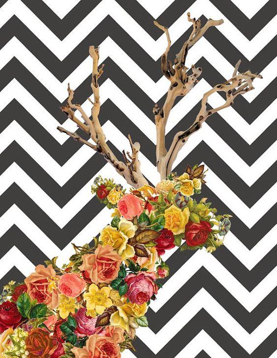 Vintage Rosy Deer print by AmandaF123.
