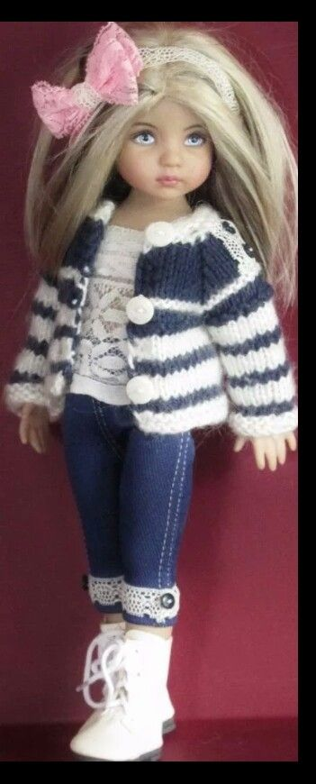 Handknit sweater and denim set made for Effner little darling dolls: