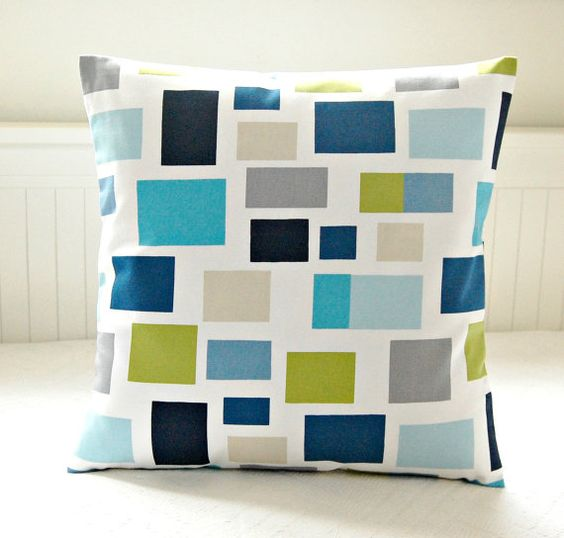 18 inch decorative throw pillow cover, cushion cover teal blue, lime green, turquoise, grey ...