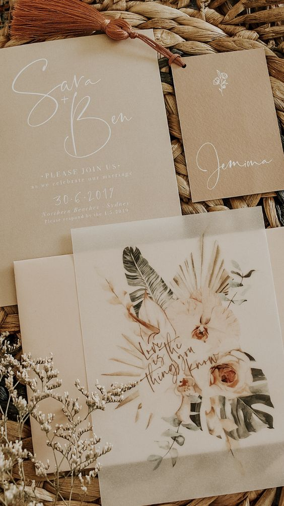 Modern bohemian wedding stationery with palm fronds and dried palm hearts. Orchid wedding stationery. Bohemian wedding invitations. Modern wedding invitation suite with boho detail