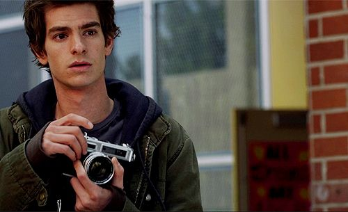 Andrew Garfield holding a camera! Nothing in the world is better than this.