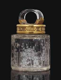 POT COUVERT EN OR ET CRISTAL DE ROCHE   LE CRISTAL DE ROCHE ATTRIBUE A FERDINAND-EUSEBIO MISERONI, PRAGUE, 1681-1684; LA MONTURE PAR JEAN GAILLARD, PARIS, 1726: