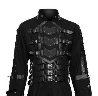 Herren Vintage Steampunk Gothic PU Leder Trenchcoat Motorrad Biker Jacke Mantel