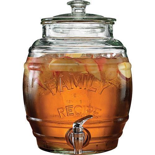 Glass-Beverage-Dispenser-w-Spigot-Patio-Deck-Beech-Pool-Party-Iced-Tea-Backyard