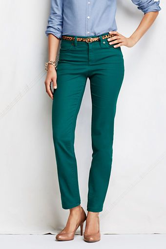 Teal Pants! Colored Denim Slim Ankle Jeans from Lands' End