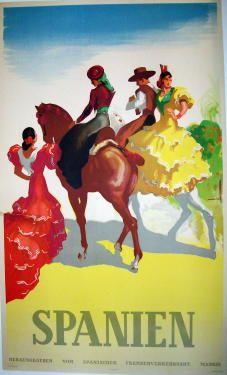 Spanien  Item #: TRV-1486  Category: Travel  Artist: Morell  Circa: 1949  Origin: Spain  Dim: 24 1/4 x 40 1/4 in.