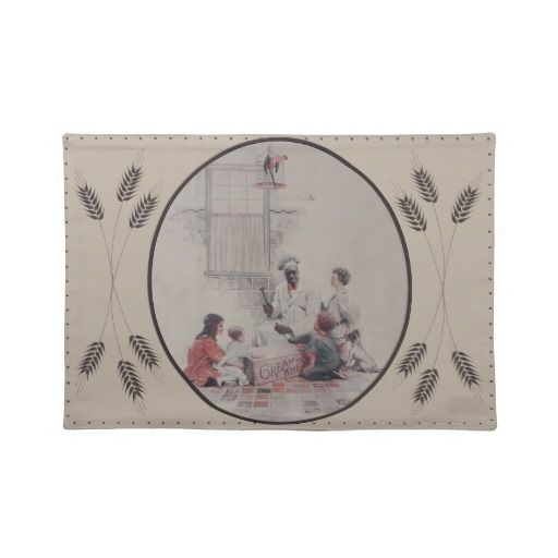 Vintage Placemats  Vintage Cream of Wheat advertising depicting a cook opening a crate of Cream of Wheat and he is surrounded by ch...