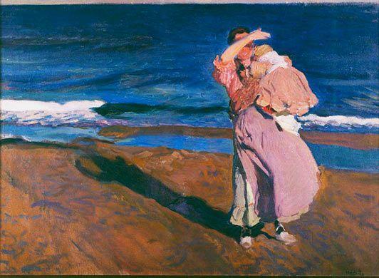 """ETAPA DE CULMINACIÓN (1900-1910). """"PESCADORA CON SU HIJO, VALENCIA"""", 1908. En el verano de 1908, como es habitual en esta época del año, Sorolla pinta en la playa de Valencia. Los temas de playa se confunden con los de costumbrismo marinero. En esta tela vuelve a insistir en las luces del ocaso, que producen fuertes contrastes de luz y sombra, acercándose el pintor nuevamente al expresionismo."""