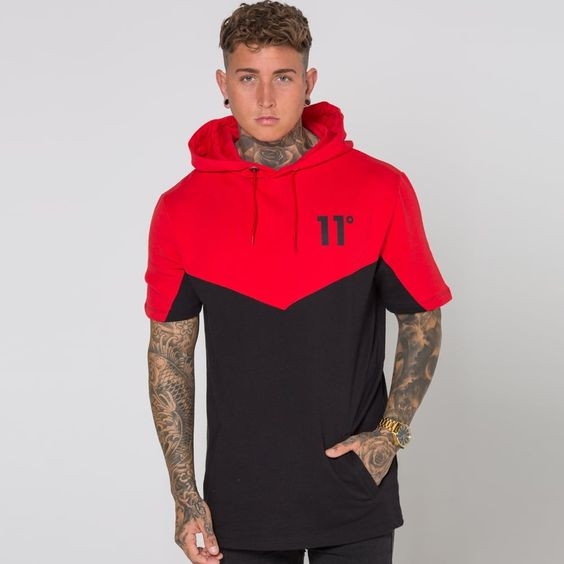 Short Sleeve Pull Over Hoodie - Red/Black | Looking For The Freshest Styles For The New Season? At 11 Degrees We've Got You Covered; Check Out Our New AW16 Collection Now!