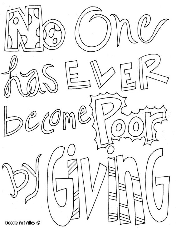 Coloring page no one has ever become poor by giving for Giving coloring pages