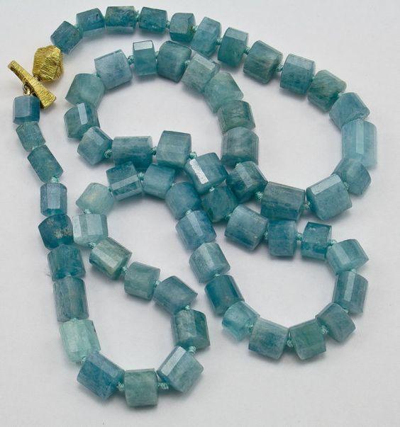 Aquamarine 18K gold necklace by KelferStudios on Etsy, $650.00