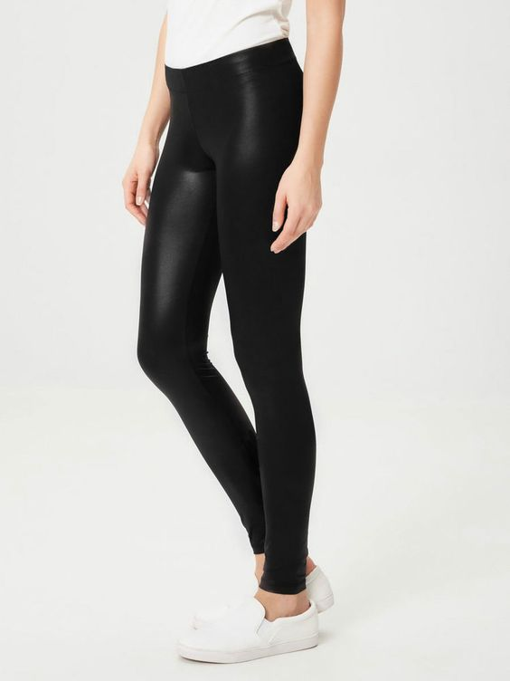 Leather look yoga leggings