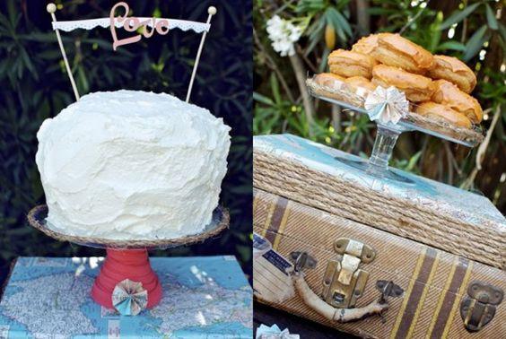 Chá de cozinha romântico casamento - bolo e doce (Foto: The sweetest occasion)
