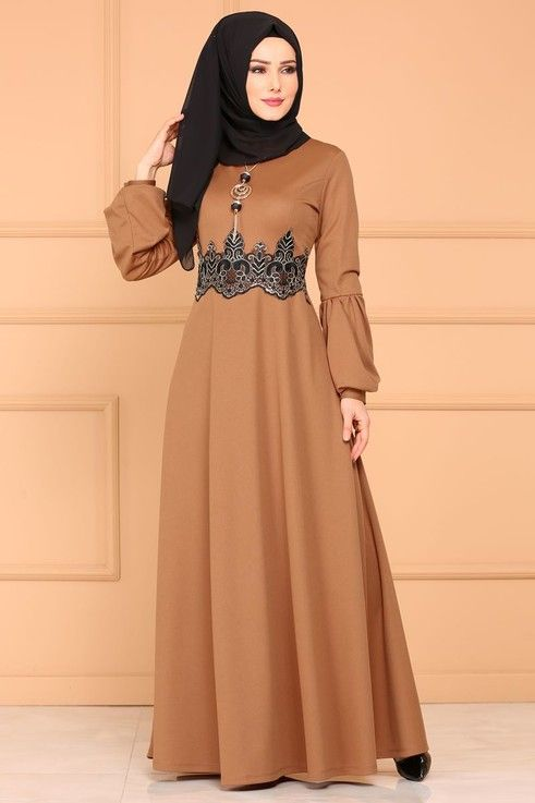 Modaselvim Elbise Gold Dantelli Elbise 5025pm271 Taba The Dress Elbise Elbiseler