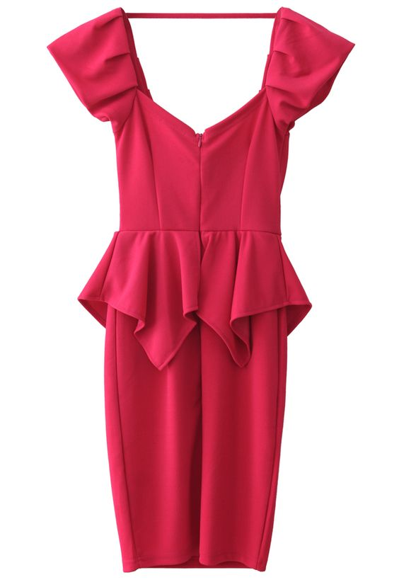 Hot-pink Peplum Prom Dress - Dress - Retro, Indie and Unique Fashion