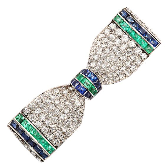HENRI PICQ Art Deco Diamond Emerald Sapphire Bow Brooch  France  ca. 1925
