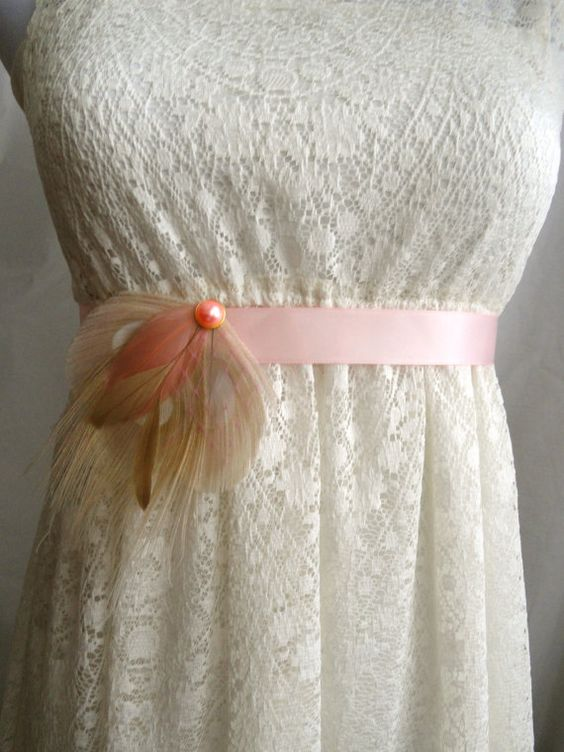 DAPHNE Ivory and Blush Pink Peacock Feather Flower Bridal Wedding Sash, Maternity Sash