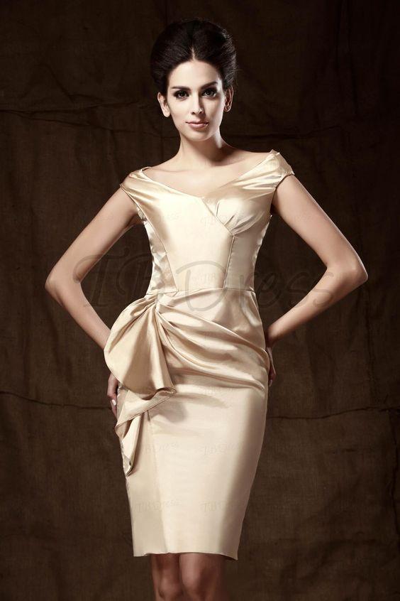Elegant Sheath Off-the-shoulder Knee-length formal dresses  Semi ...