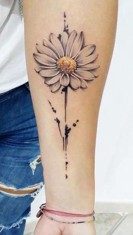 Subtly Colored Daisy Tattoo On The Arm Www Otziapp Com Delicate Flower Tattoo Forearm Tattoo Women Forearm Tattoo