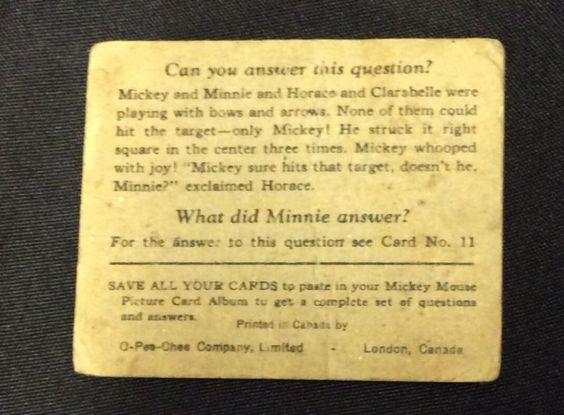 original 1935 Walt Disney Mickey Mouse Gum Card #10  (Canadian O-Pee-Chee) vg