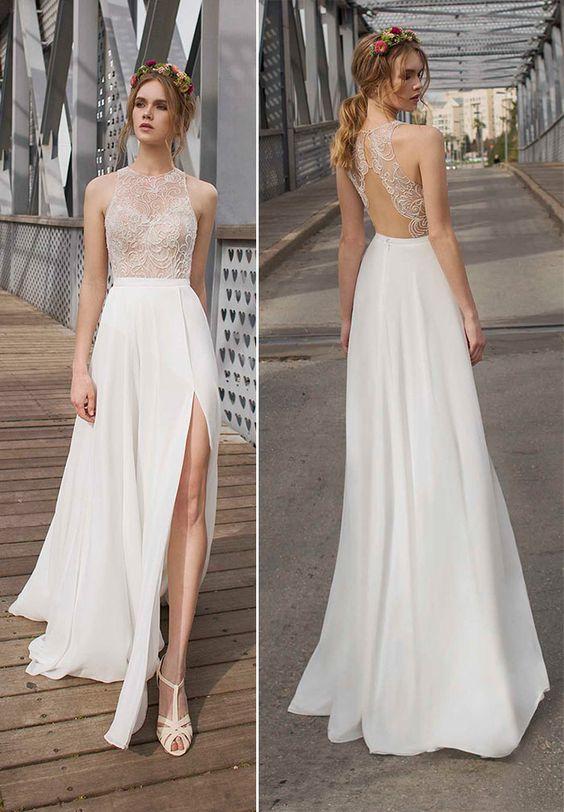 Vestido de noiva com fenda: