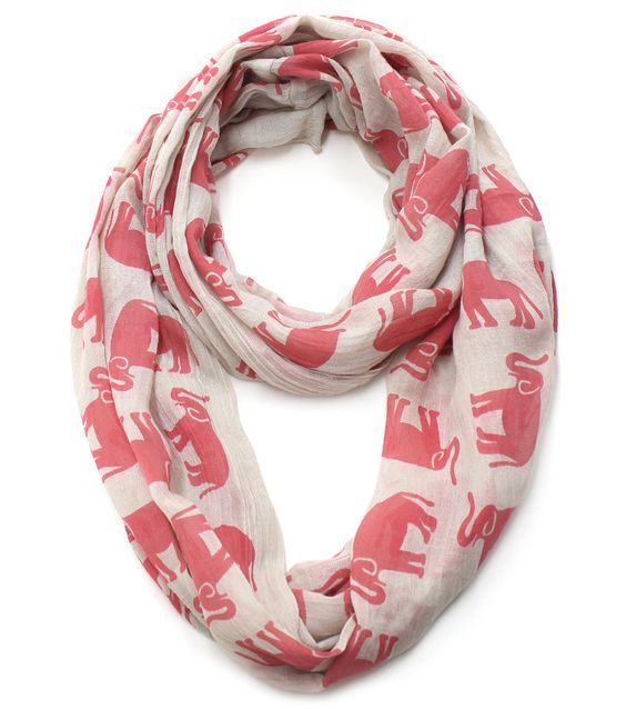 Tiny Elephants Printed Light Weight Cotton Infinity - Red and Beige from THE LUCKY KNOT