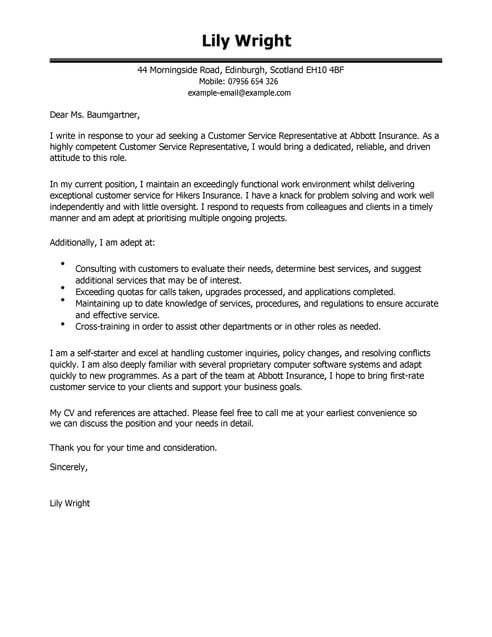 Cool Cv Letter Template Pictures customer service ...