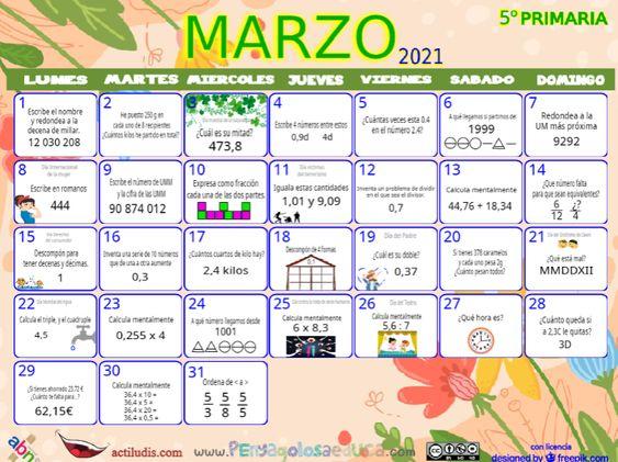 Calendario Quinto ABN – Marzo 2021