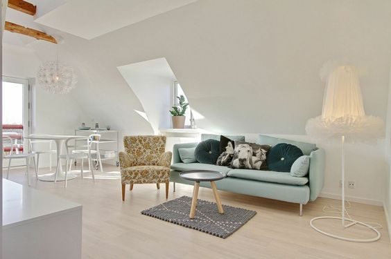 Wohnzimmer dachgeschoss ~ Wandfarbe weiß kleine wohnung dachgeschoss dachschräge wohnzimmer