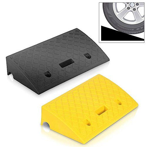 Loading Dock Truck Sidewalk Motorcycle Bike Portable Lightweight Plastic Curb Ramps Wheelchair Mobility Car 2PC Heavy Duty Plastic Threshold Ramp Kit Set for Driveway Scooter