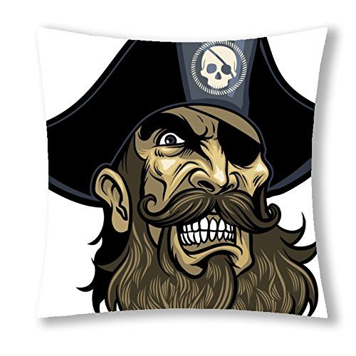 "Little Sun 98 Mysterious Medieval Pirates Flag Skull 40 Decorative Cotton Polyester Throw Pillow Cover 18""x18""(One Side) Little Sun"