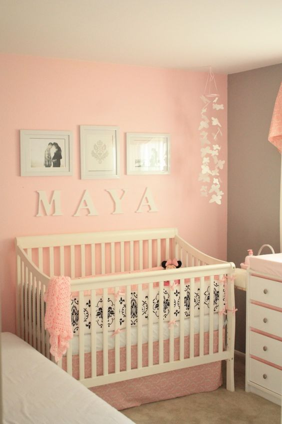 A soft pink and gray is such a beautiful color combo for a baby girl nursery!
