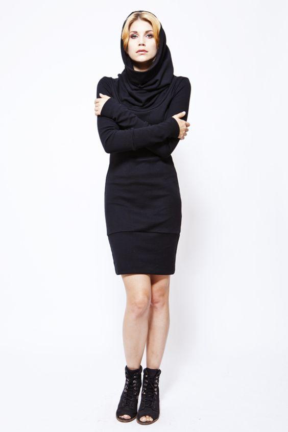 """Kapuzenkleider - schalkleid """"true lilly"""", schwarz - ein Designerstück von bluetezeit-berlin bei DaWanda"""