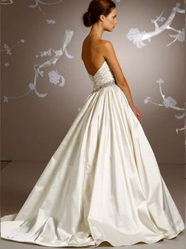 Satin ivory gown pleated