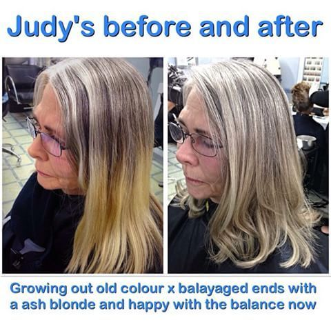 Image Result For Growing Out Grey Hair With Highlights Hair Blending Gray Hair Gray Hair Growing Out Gray Hair Highlights