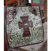 Double D Turquoise/Brown Floral Print