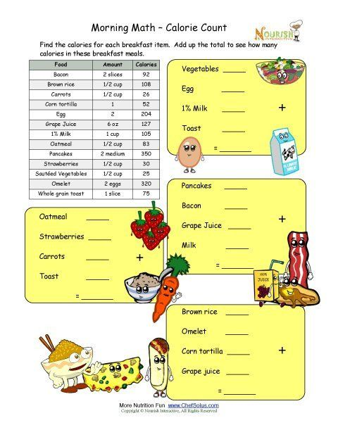Grocery Store Math Worksheets Calorie Count Math Worksheet For Elementary School Children Kids Nutrition Math Worksheets Math Printables