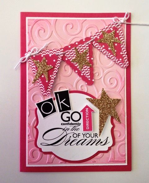 This girly card was made for a group of girls entering their first dance competition...hopefully it brings them luck!