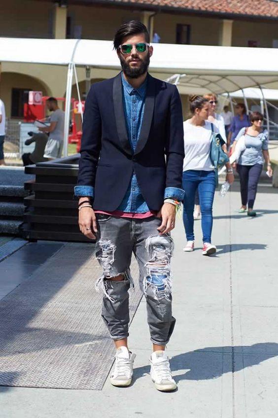 ジャケット&デニム海外メンズコーデStreet Style Pitti 86