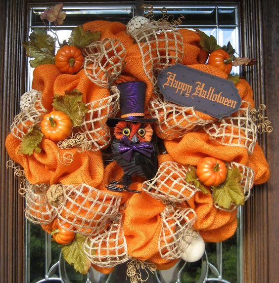 Natural Halloween Decorations: Natural ORANGE BURLAP HALLOWEEN Wreath