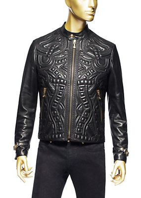 Versace - Leather Bomber Jacket love the detailing in the leather ...