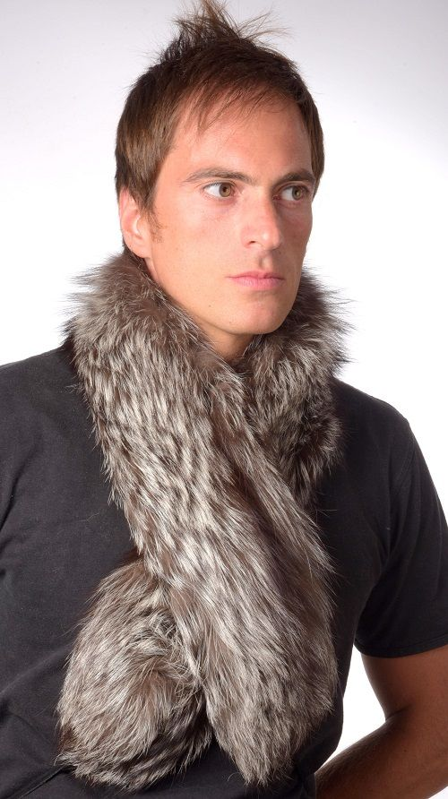 Real silver fox fur scarf, double sided fur. Unisex fur scarf for both women & men. Handmade in Italy.  www.amifur.com