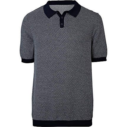 Navy semi plain knit polo shirt