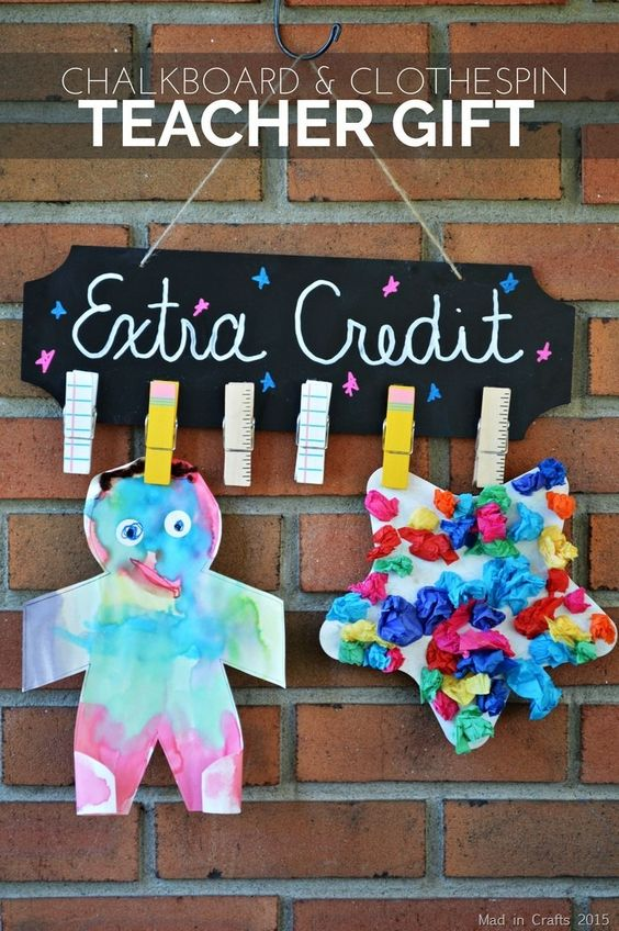 DIY Chalkboard and Clothespin Teacher Gift - Mad in Crafts