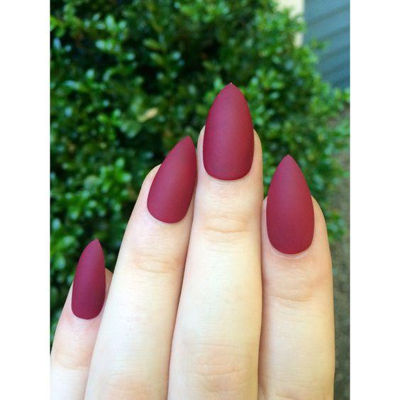 Matte nails, maroon nails, fake nails, stiletto nails (€10) ❤ liked on Polyvore featuring beauty products, nail care, nail treatments, nails, makeup and nail polish