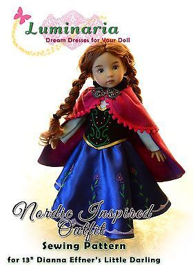 """PATTERN Nordic Dress for 13"""" Dianna Effner Little Darling Insp. by Frozen Anna"""