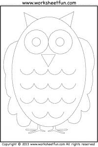 Owl Tracing and Coloring – 4 Halloween Worksheets