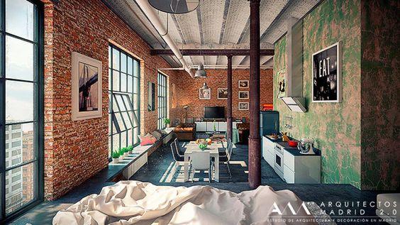 Proyecto y Reforma de Loft en Madrid : Estudios y despachos de estilo industrial de Arquitectos Madrid 2.0