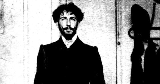 Antigua imagen del retrato de un joven Horacio Quiroga.
